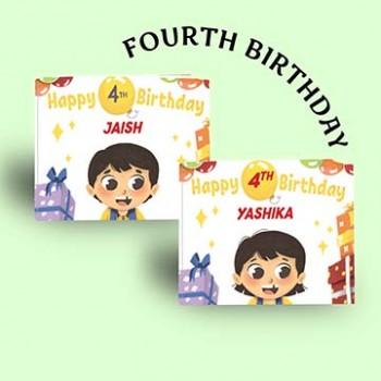"""Happy 4th Birthday"" Personalised Birthday Book"