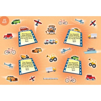 """Vehicles"" Personalized Gift Wrapping Paper"